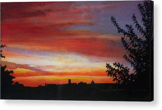Sunrise Acrylic Print featuring the painting Sunrise Over The Little Miami by Anne Rhodes
