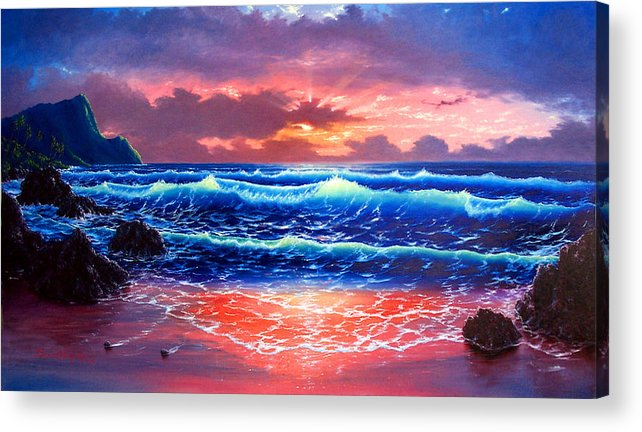 Sea Acrylic Print featuring the painting Sunset by Daniel Bergren