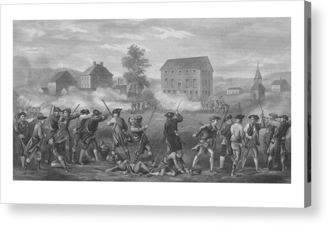 Minutemen Acrylic Print featuring the drawing The Battle Of Lexington by War Is Hell Store