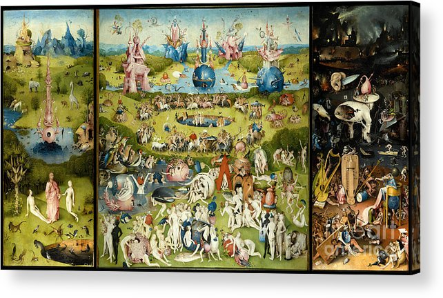 Hieronymous Bosch Acrylic Print featuring the painting The Garden Of Earthly Delights 1490-1510 By Hieronymus Bosch by ArtAnthology