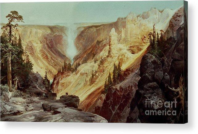 The Grand Canyon Of The Yellowstone Acrylic Print featuring the painting The Grand Canyon Of The Yellowstone by Thomas Moran