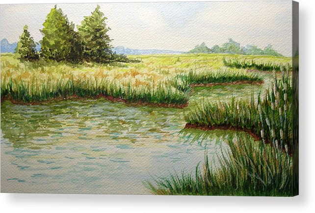 Landscape Acrylic Print featuring the painting The Marshes by JoAnne Castelli-Castor