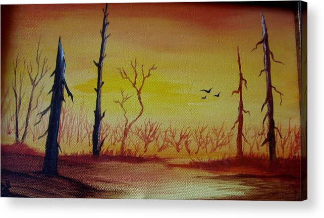Landscape Acrylic Print featuring the painting The New Beginning by Glory Fraulein Wolfe