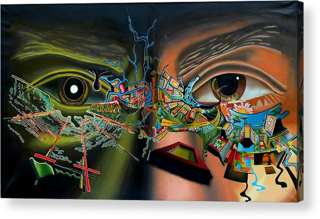 Surreal Acrylic Print featuring the painting The Surreal Bridge by Dave Martsolf