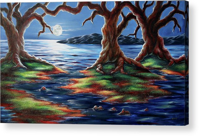Textured Painting Acrylic Print featuring the painting United Trees by Jennifer McDuffie