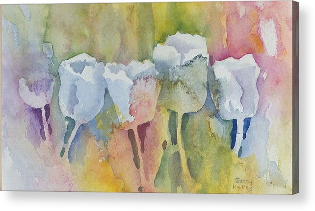 Impressionistic Acrylic Print featuring the painting White Tulips by Jerry Kelley