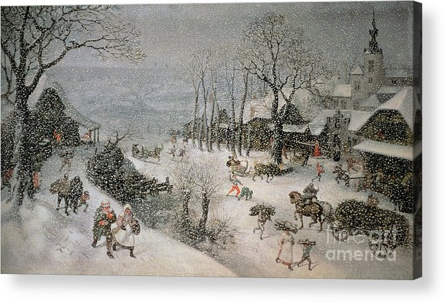 Snowy Acrylic Print featuring the painting Winter by Lucas van Valckenborch