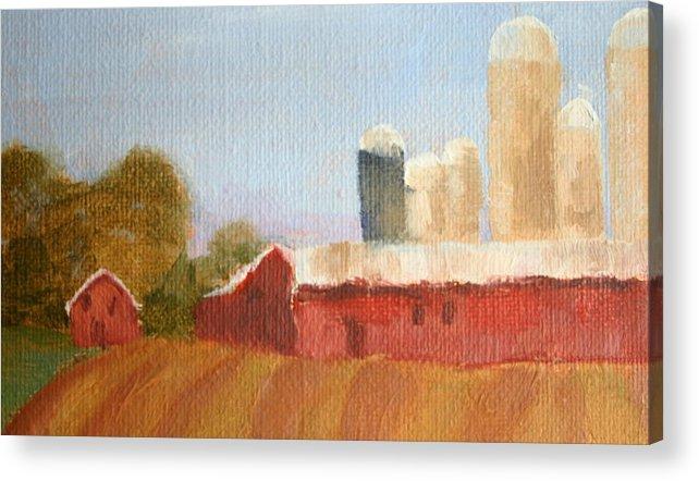 Wisconsin Acrylic Print featuring the painting Wisconsin Farmland by Martha Layton Smith