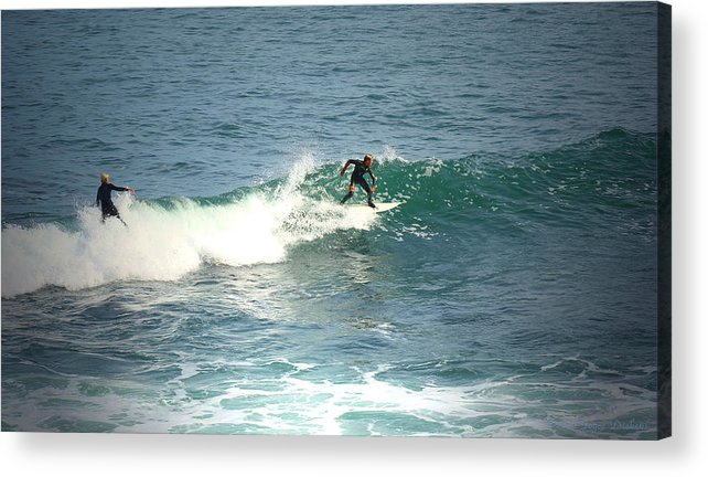 Surf Acrylic Print featuring the photograph Young Surfers Four by Joyce Dickens