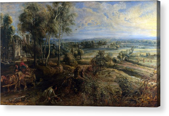 Peter Paul Rubens Acrylic Print featuring the digital art A View Of Het Steen In The Early Morning by Peter Paul Rubens