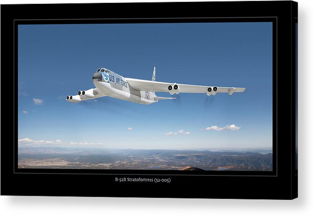 Boeing B-52 Bomber Framed Prints Acrylic Print featuring the photograph B-52b Stratofortress by Larry McManus
