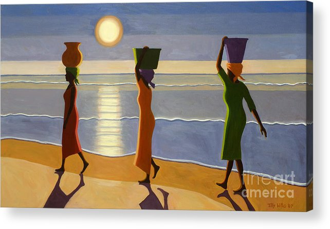 3 Acrylic Print featuring the painting By The Beach by Tilly Willis