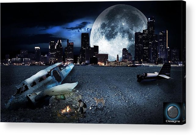 Detroit Acrylic Print featuring the digital art Detroit 2079 by Nicholas Trombley