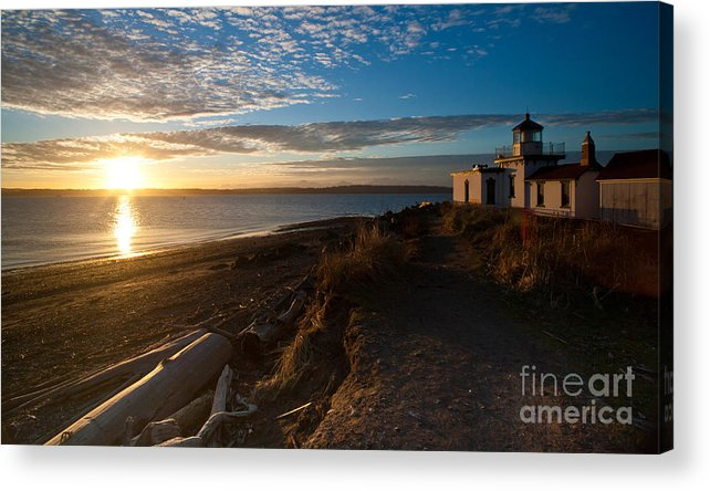 Discovery Park Acrylic Print featuring the photograph Discovery Park Lighthouse Sunset by Mike Reid