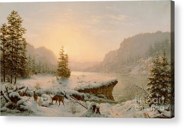 Scene; Remote; American; Landscape; Countryside; Rural; Wilderness; Deer; Animal; Animals; Nature; Snow; Snow-covered; Fir-tree; Fir; Tree; Trees; Firs; Lake; River; Dawn; Dusk; Morning; Evening; Sunrise; Sunset; Atmospheric; Beauty; Beautiful; Spectacular; Majestic; Buck Acrylic Print featuring the painting Winter Landscape by Mortimer L Smith