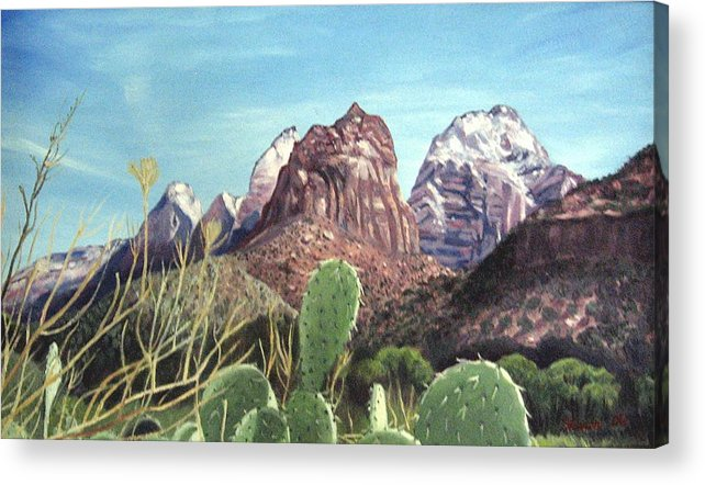 Zion Acrylic Print featuring the painting Zion National Park by Sharon Casavant