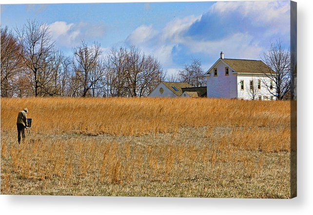 Bucks County Acrylic Print featuring the photograph Artist In Field by William Jobes