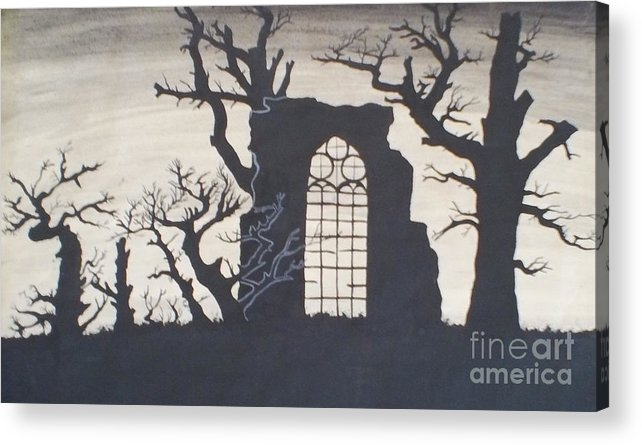 Gothic Acrylic Print featuring the drawing Gothic Landscape by Silvie Kendall