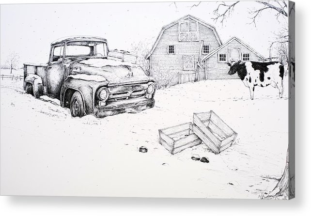 Pen And Ink Acrylic Print featuring the drawing Late Season Apples by Scott Nelson