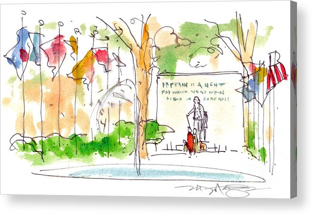 Landscape Acrylic Print featuring the painting Philadelphia Park by Marilyn MacGregor