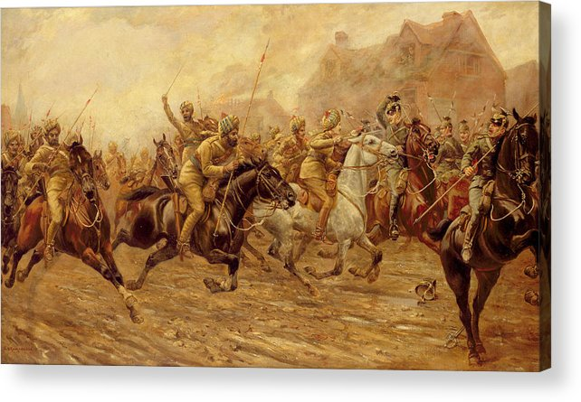 The Charge Of The Bengal Lancers At Neuve Chapelle Acrylic Print featuring the painting The Charge Of The Bengal Lancers At Neuve Chapelle by Derville Rowlandson
