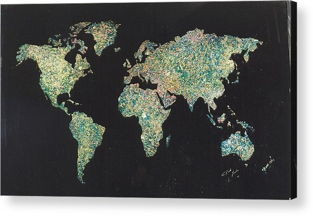 World Maps Acrylic Print featuring the painting Shattered World by Rick Silas