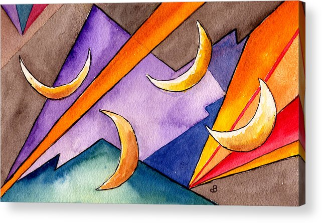 Watercolor Abstract Orange Purple Grey Moon Moons Design Fantasy Surreal Acrylic Print featuring the painting Cadence by Brenda Owen
