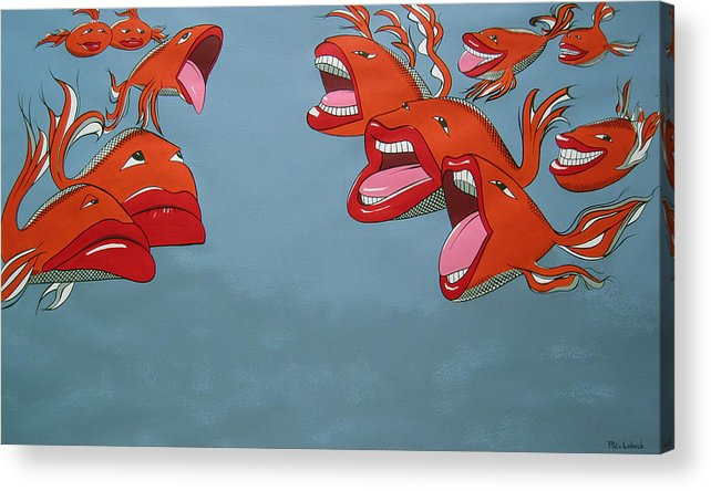 Seascape Acrylic Print featuring the painting Fish Fight by Patricia Van Lubeck