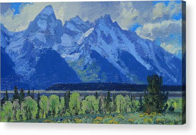 Landscape Acrylic Print featuring the painting Glacier Gulch by Lanny Grant