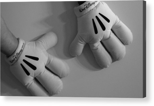 Black And White Acrylic Print featuring the photograph Mickeys Hands by Rob Hans
