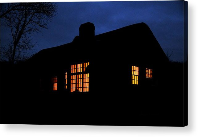 Rangers Office After Dark Houghtons Pond Canton Mass Acrylic Print featuring the photograph Rangers Office After Dark by Bill Driscoll