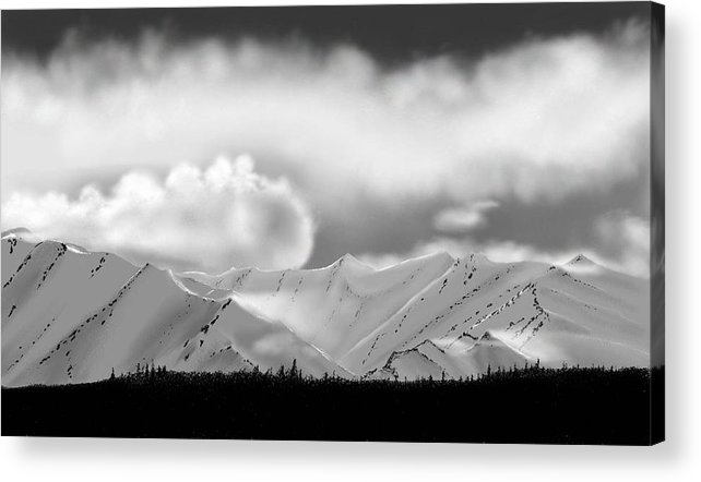 Landscape Mountains Clouds Snow Acrylic Print featuring the painting Snow In The Mountains by John Shioli
