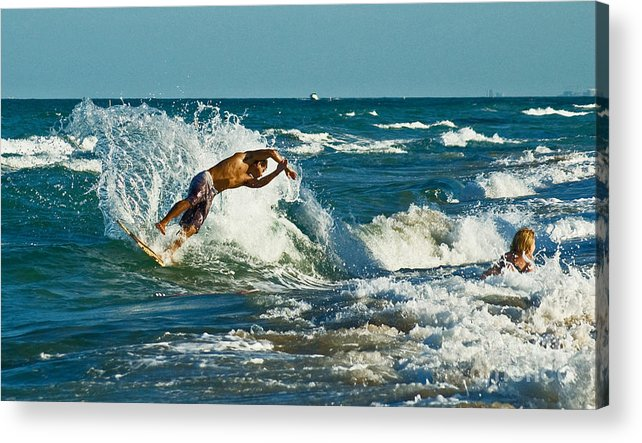 Surfing Acrylic Print featuring the photograph Surfboarding In Florida by Allan Einhorn