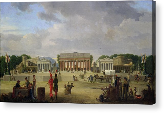 View Acrylic Print featuring the painting View Of The Grand Theatre Constructed In The Place De La Concorde For The Fete De La Paix by Jean Baptiste Louis Cazin