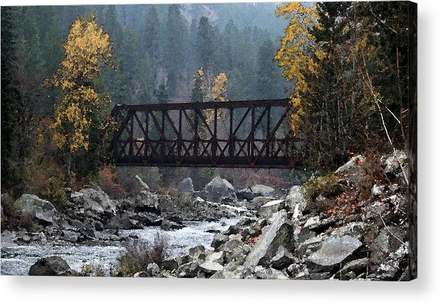 Bridge Acrylic Print featuring the painting Wenatchee Bridge Digital Painting by Mary Gaines