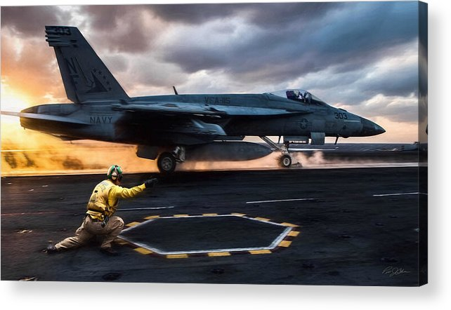 Catapult Officer Acrylic Print featuring the digital art Sunset Shooter by Peter Chilelli