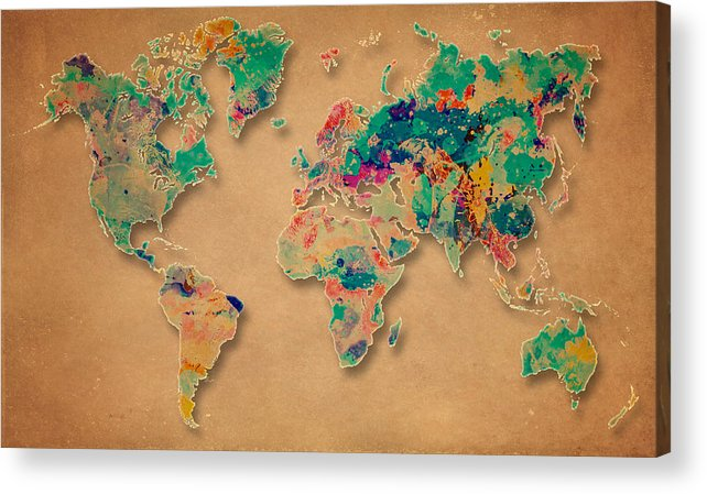World Map Acrylic Print featuring the digital art World Map Watercolor Painting by Costinel Floricel
