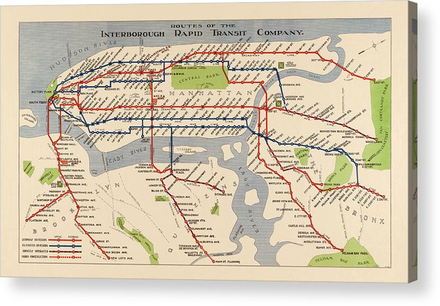 Subway Map New York For Print.Antique Subway Map Of New York City 1924 Acrylic Print