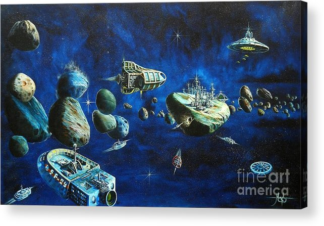 Fantasy Acrylic Print featuring the painting Asteroid City by Murphy Elliott