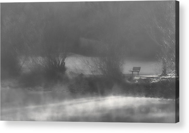 Bench Acrylic Print featuring the photograph Bench In The Mist by Don Schwartz