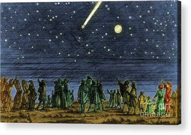 Science Acrylic Print featuring the photograph Halleys Comet 1682 by Science Source
