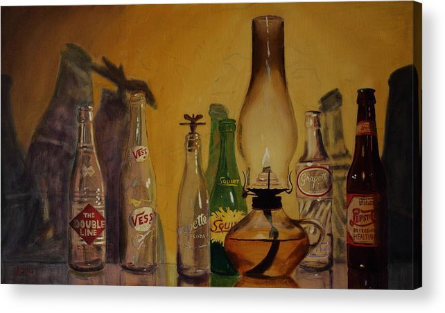 Still Life Acrylic Print featuring the painting Lamp With Pop Bottles by Kyle Richardson