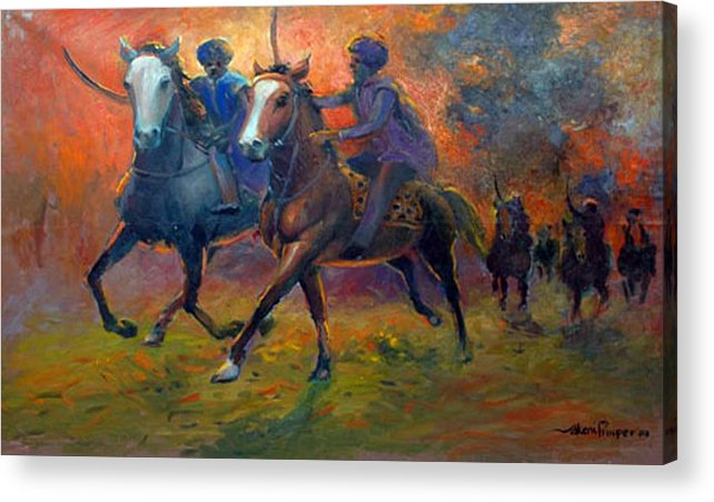 Warrior Acrylic Print featuring the painting Men In Defence by Prosper Akeni