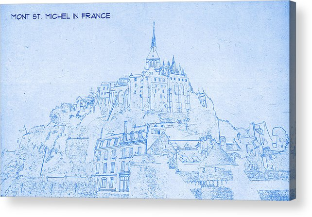 mont st michel in france blueprint drawing acrylic print by