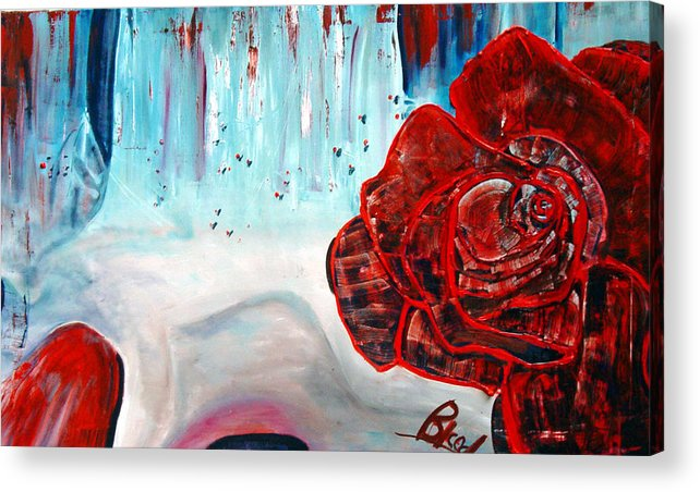 Landscape Acrylic Print featuring the painting Op And Rose by Peggy Blood