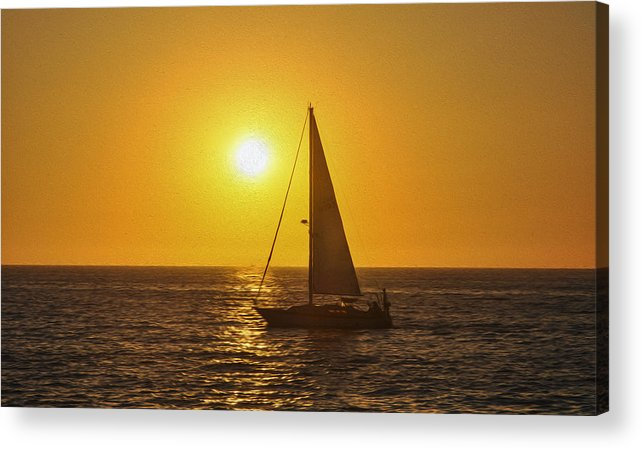 Sunset Acrylic Print featuring the painting Sailing Into The Sunset by Aged Pixel