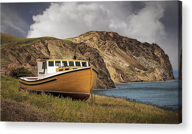 Boat Acrylic Print featuring the photograph Seasacape With Boat by Phil Cardamone