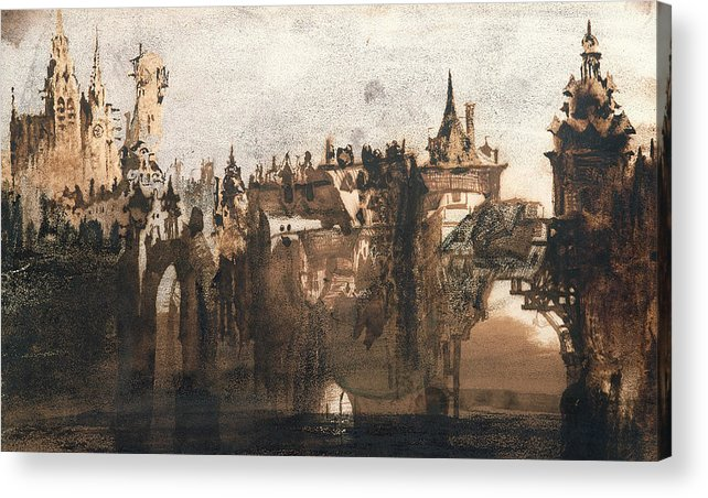Victor Hugo Acrylic Print featuring the painting Town With A Broken Bridge by Victor Hugo