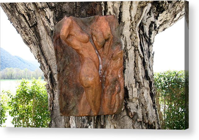 Nude Woman Torso Sculpture Acrylic Print featuring the relief Woman Torso Relief by Flow Fitzgerald