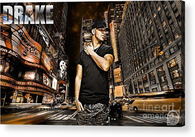 Drake Acrylic Print featuring the digital art Street Phenomenon Drake by The DigArtisT